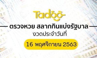 ตรวจหวย 16 11 63 ตรวจสลากกินแบ่งรัฐบาล 16 พฤศจิกายน 2563 | Tadoo